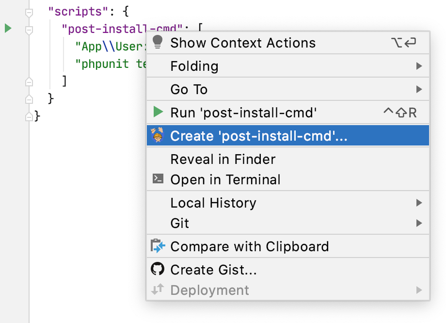 Create a run configuration from the editor