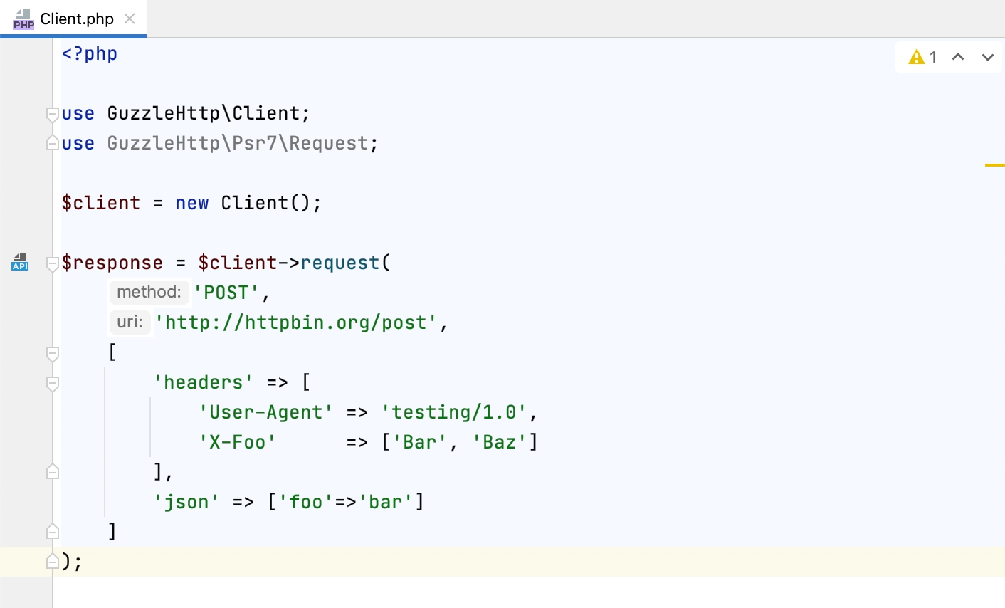 Creating an HTTP request from Guzzle call