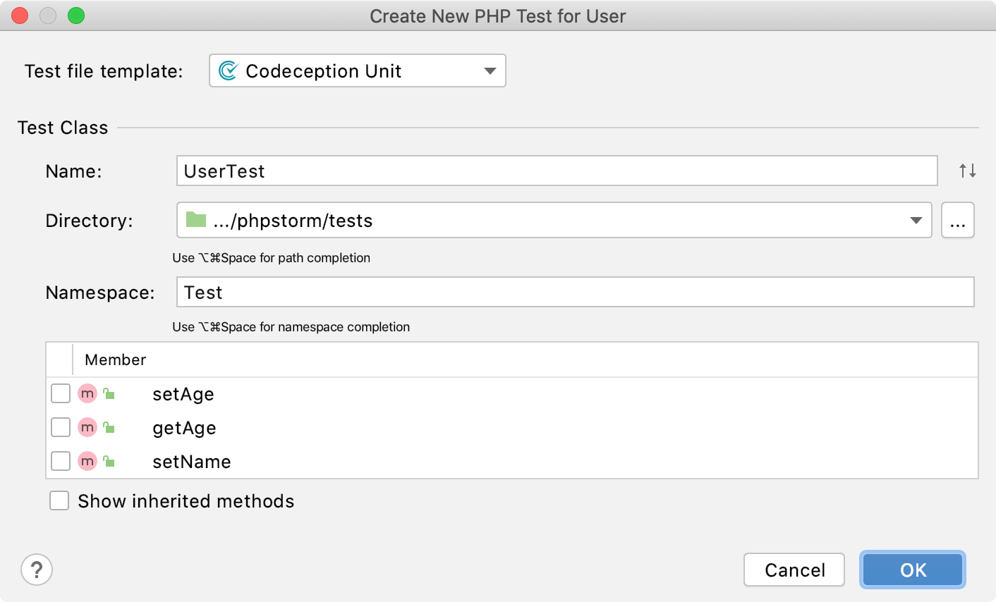 the Create new codeception test dialog