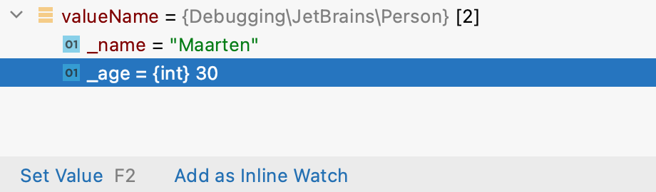 Adding an inline watch option