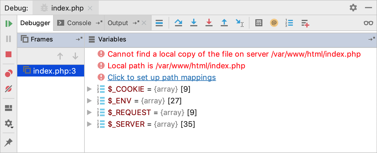 Debug mappings not configured error message.png