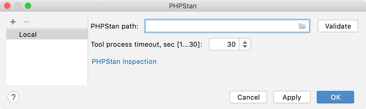 Empty PHPStan path field