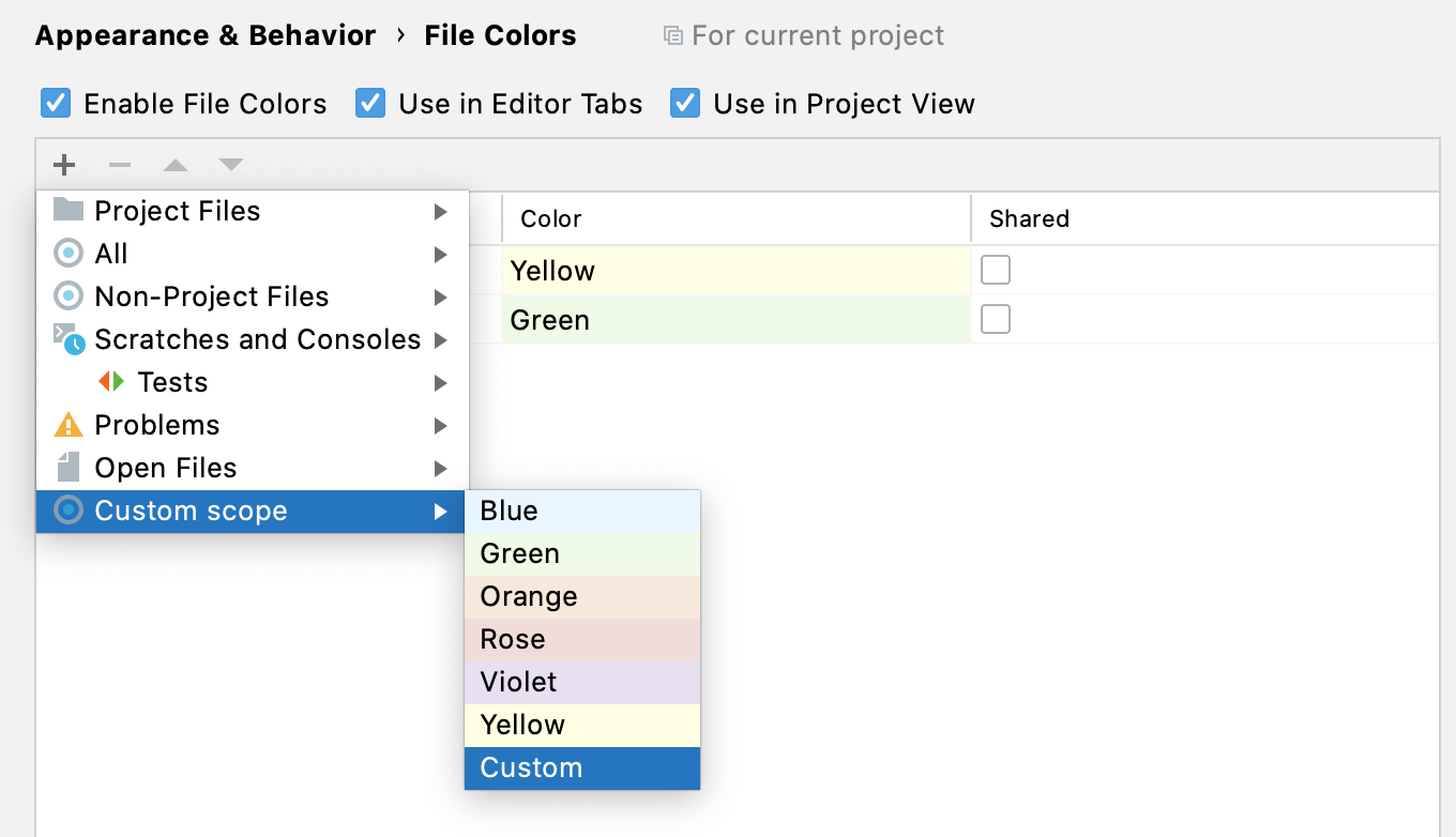Selecting a color for a custom scope