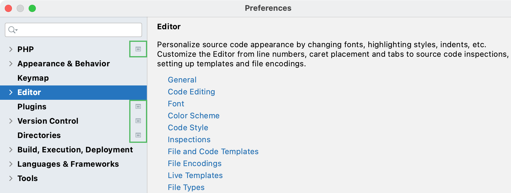 Project settings marked in the Settings/Preferences dialog