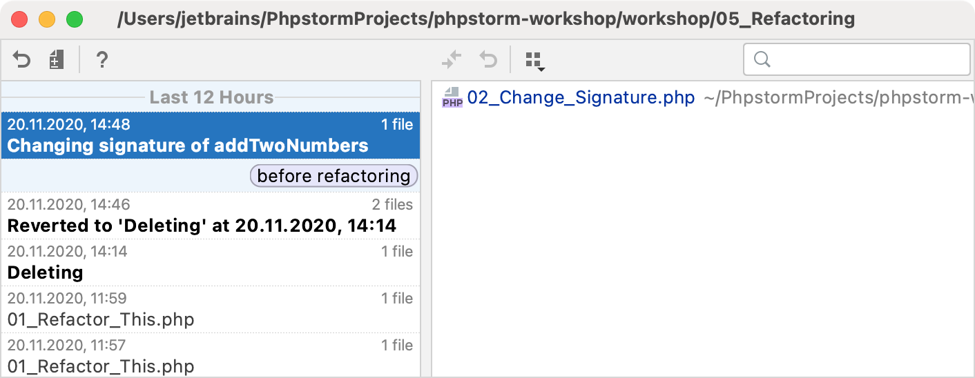 PhpStorm: Add label to the current state Local History