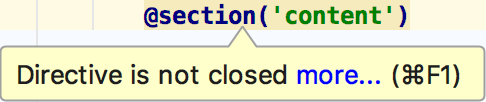 Laravel Blade closed section inspection