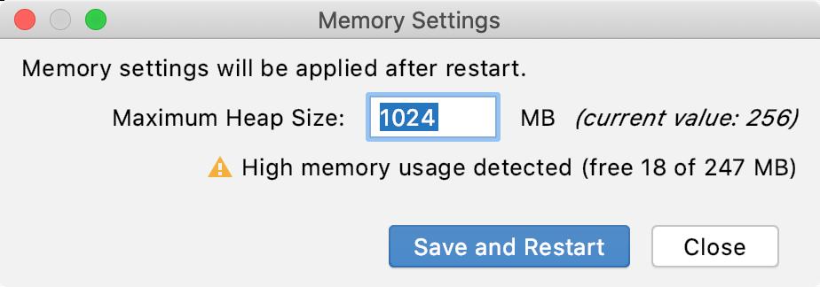 change -Xmx in Memory Settings