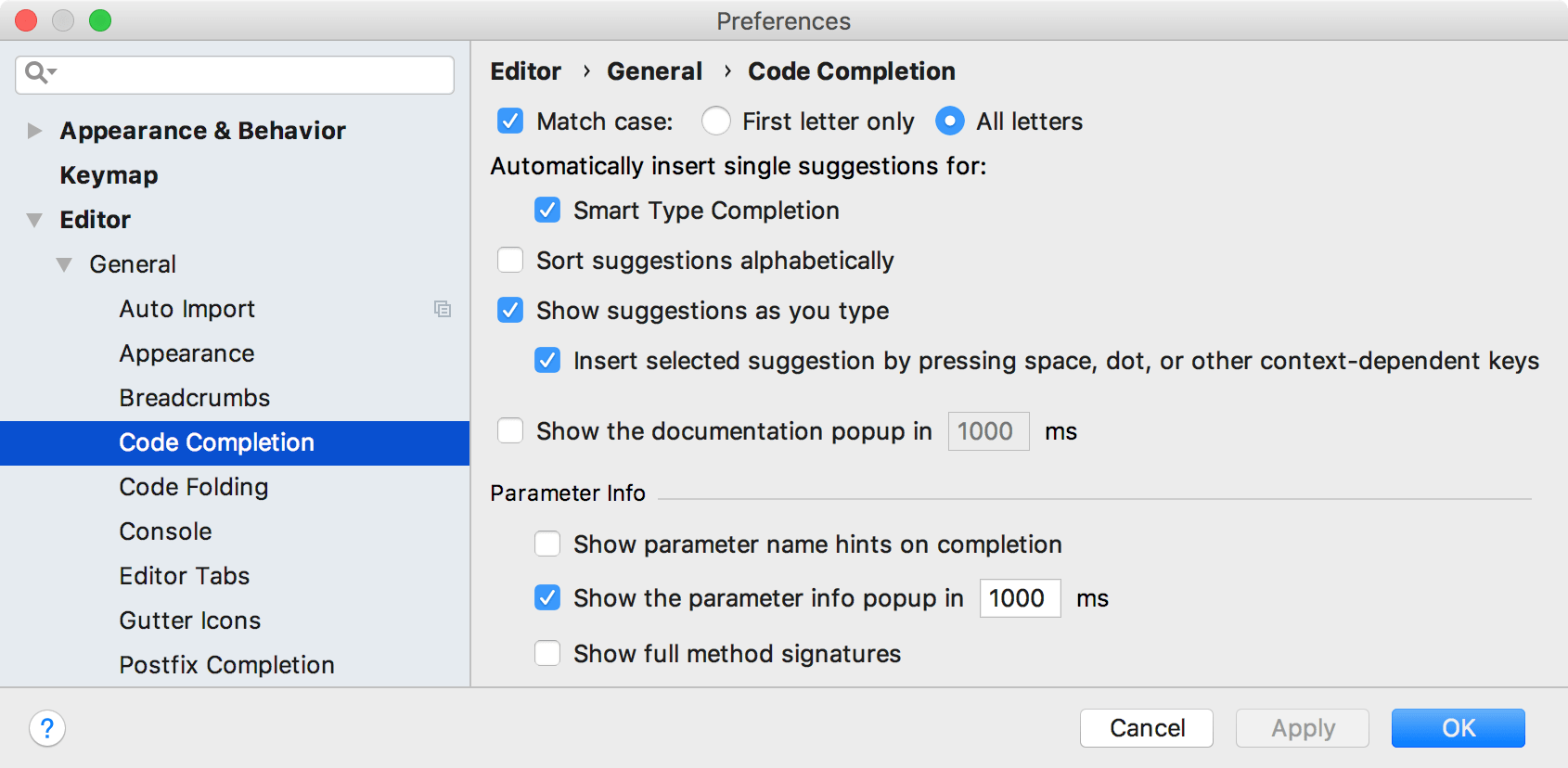 Ps migration guide code completion settings