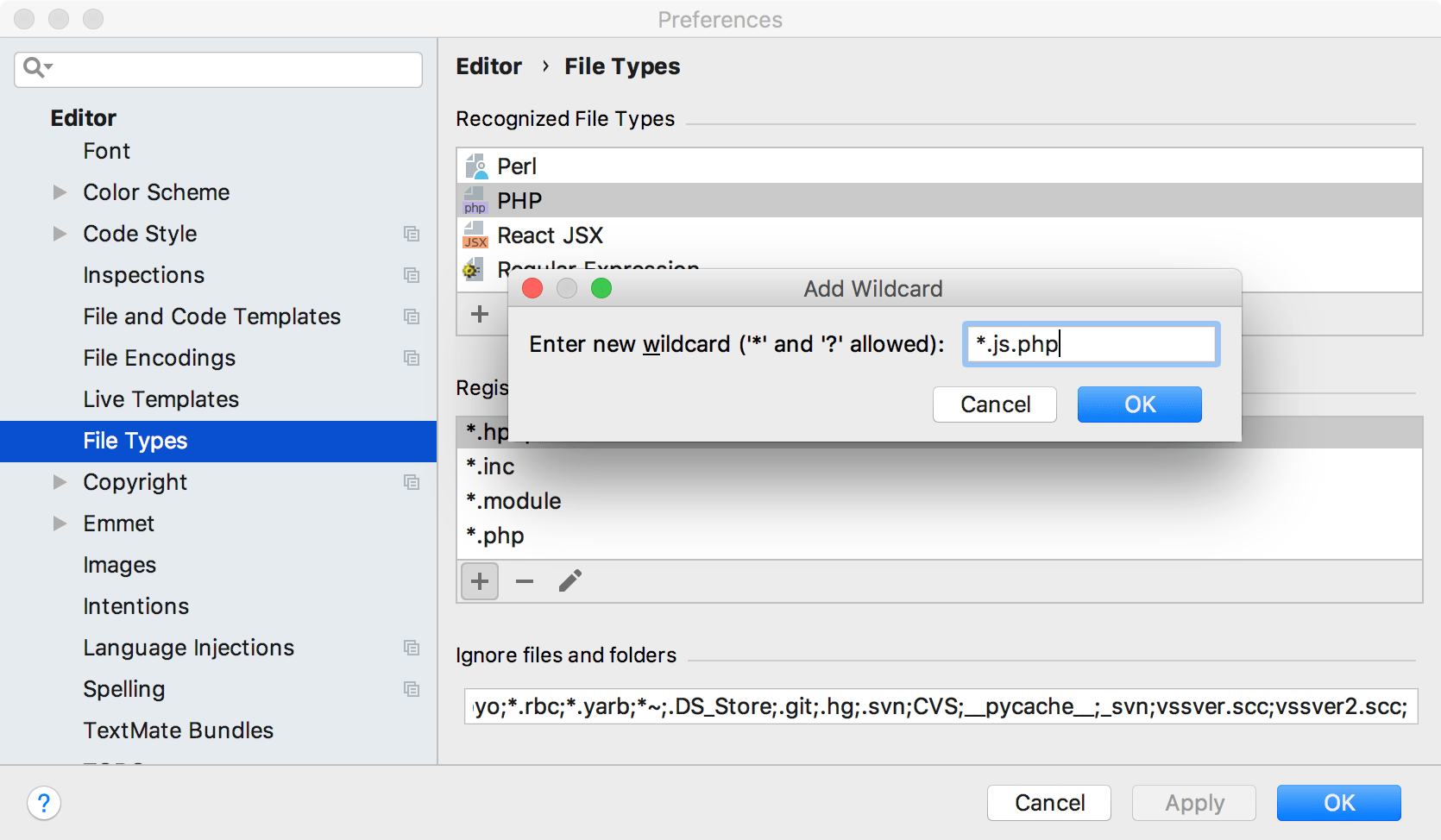 File types settings page