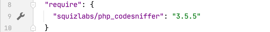 Gutter icon for php_codesniffer settings in composer.json