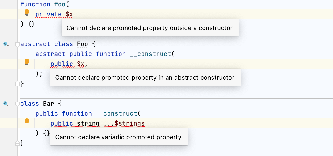 Promoted properties checks