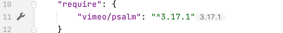 Gutter icon for psalm settings in composer.json