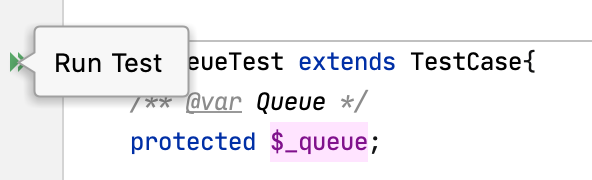 Running a test using the gutter icon