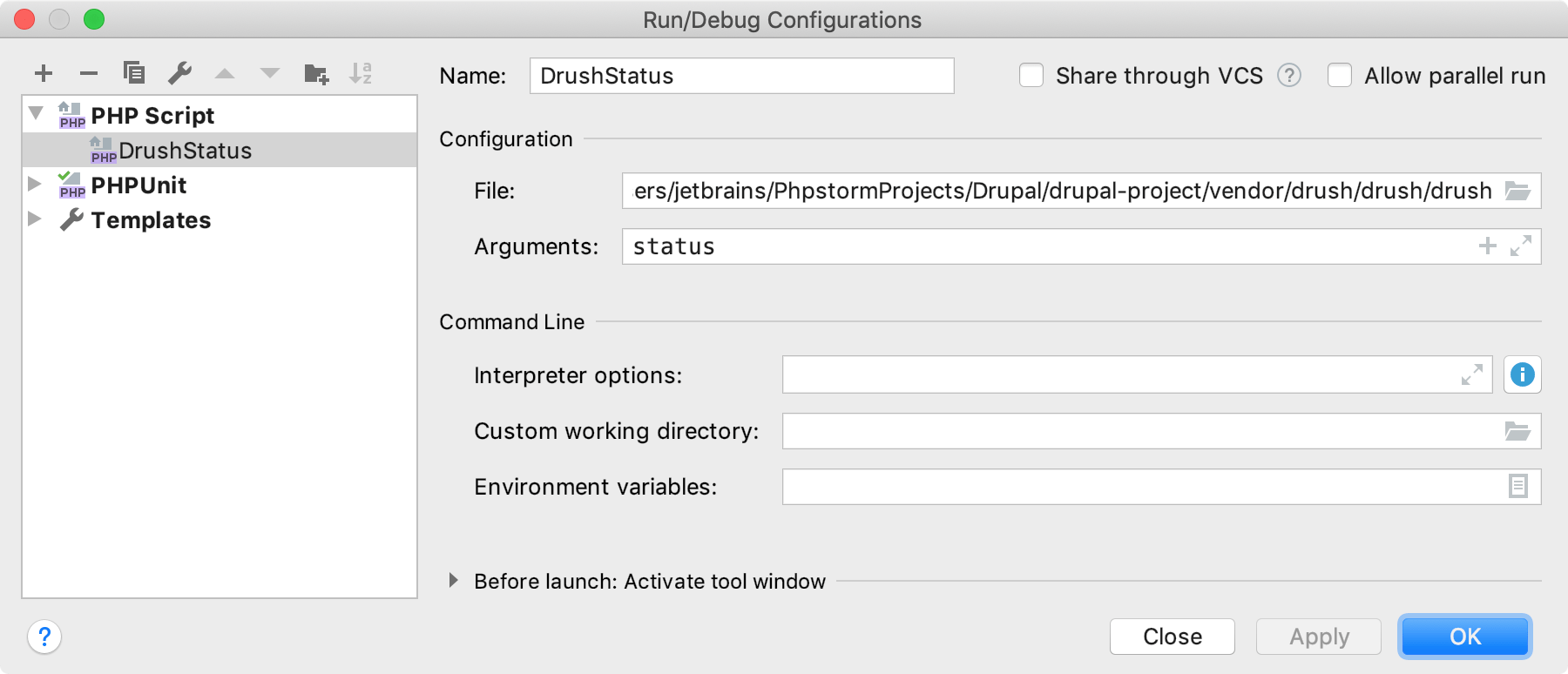 Run/Debug Configurations dialog for Drupal CLI command
