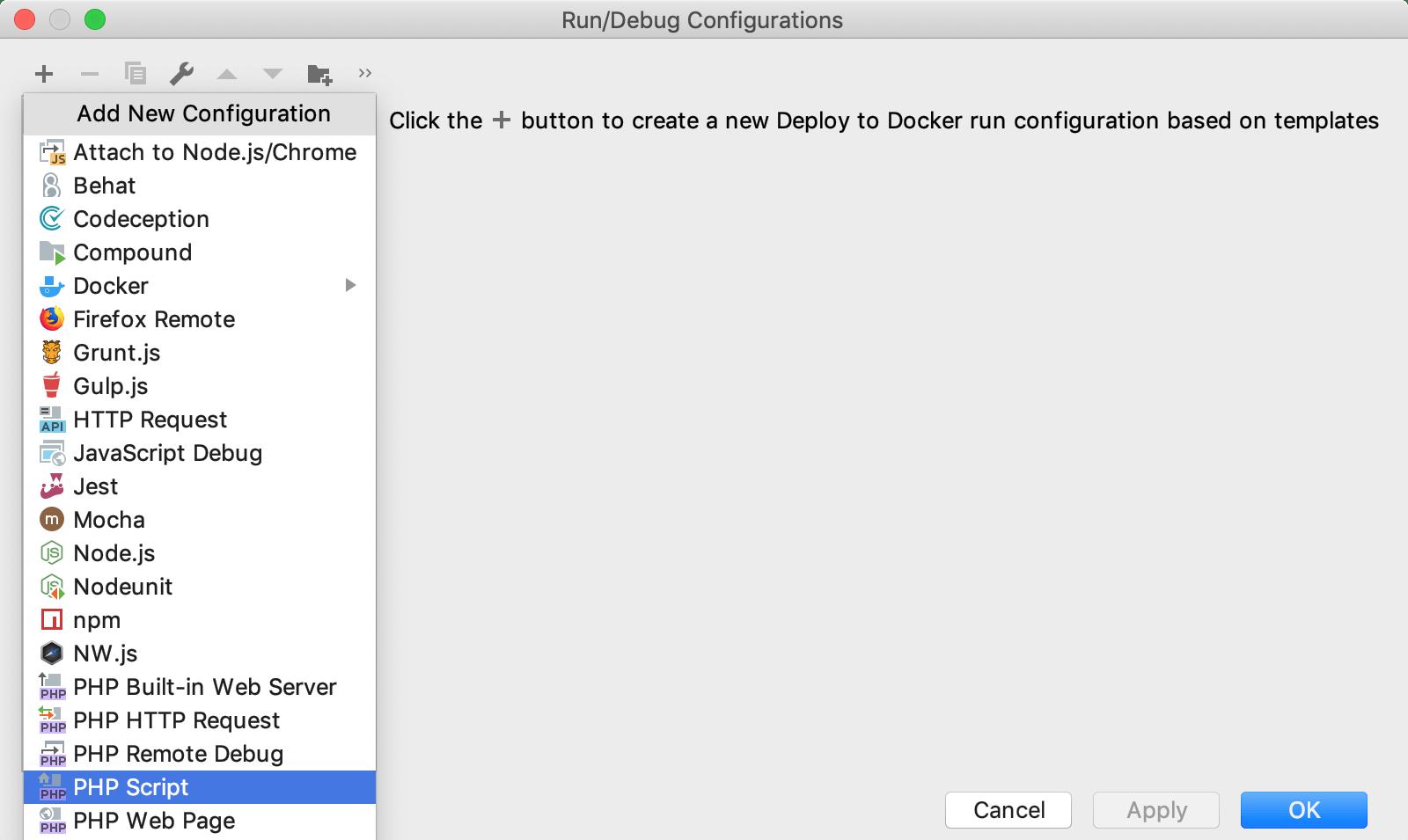 Run/Debug configuration: PHP script