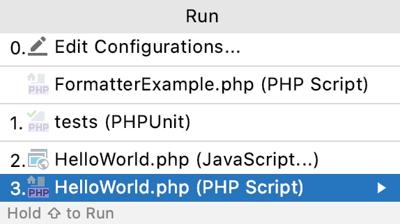 the Choose Run Configuration popup