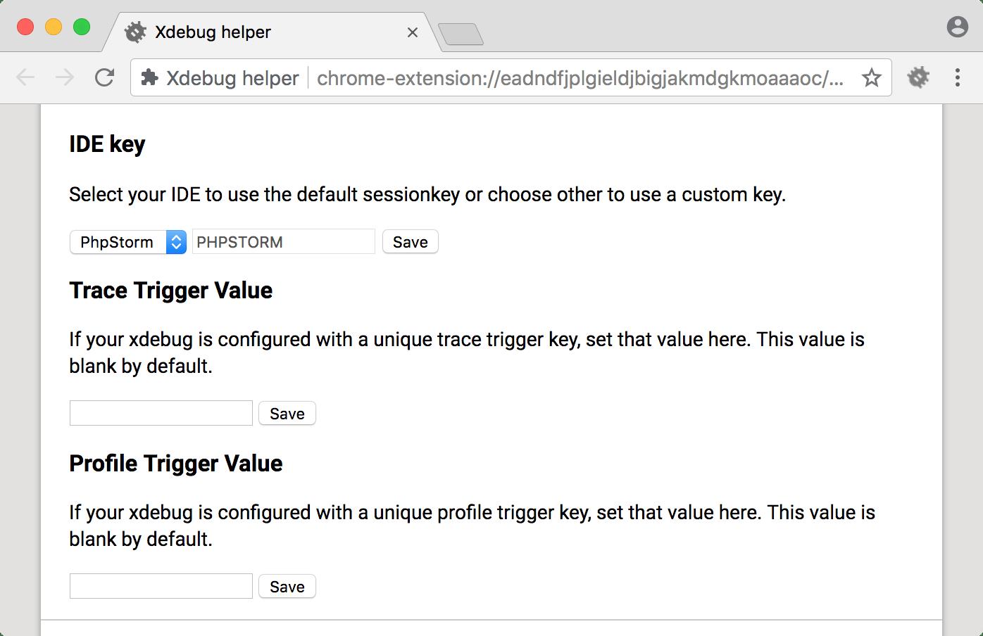 Xdebug helper settings