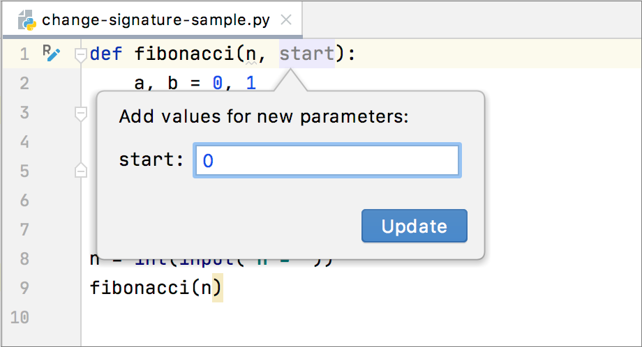 Add default value for a parameter