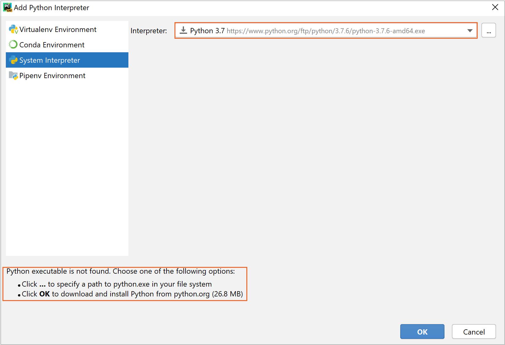 Downloading Python when installing the system interpreter
