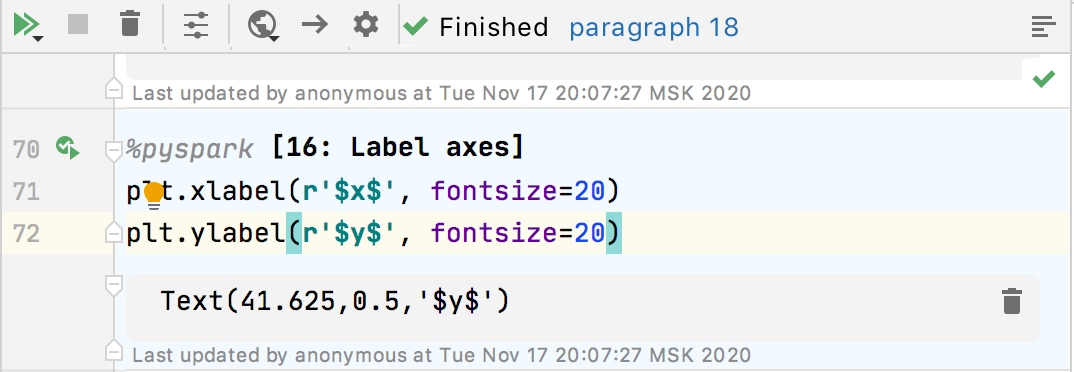 Executing code paragraph has been successfully finished