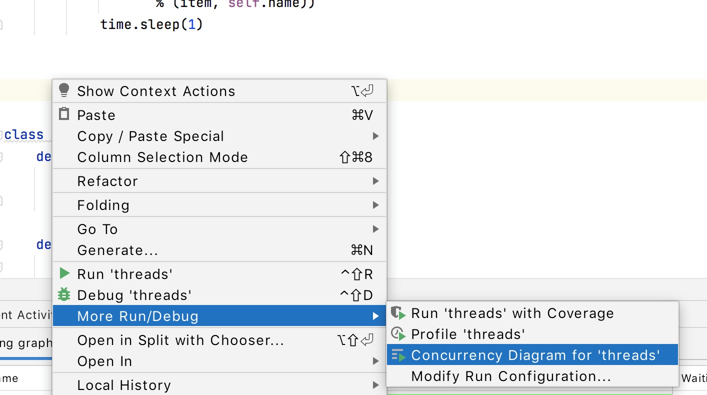 Run Concurrency Diagram from the context menu