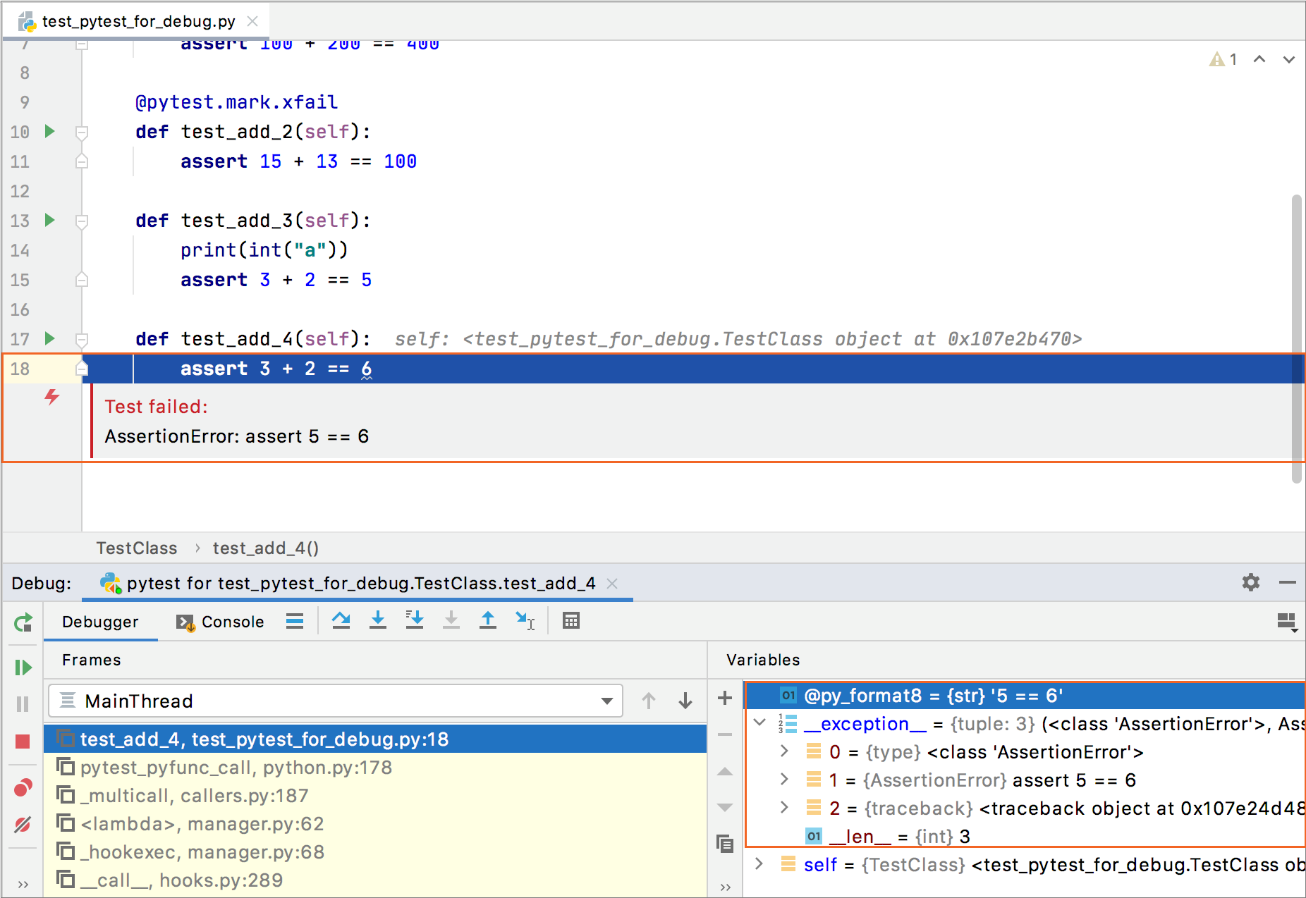 Exception breakpoint is added when debugging a failed test