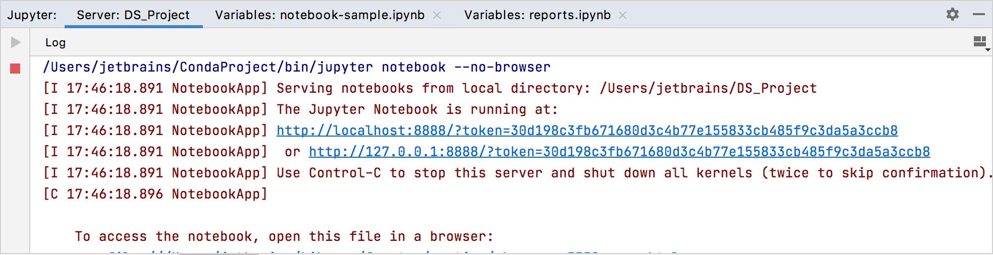 Jupyter server tool window: the Server log tab