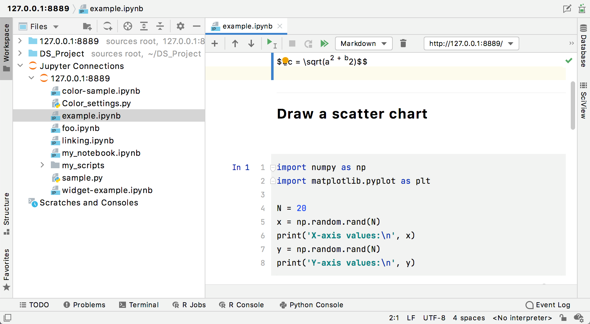 Remote Jupyter server in the Workspace tool window