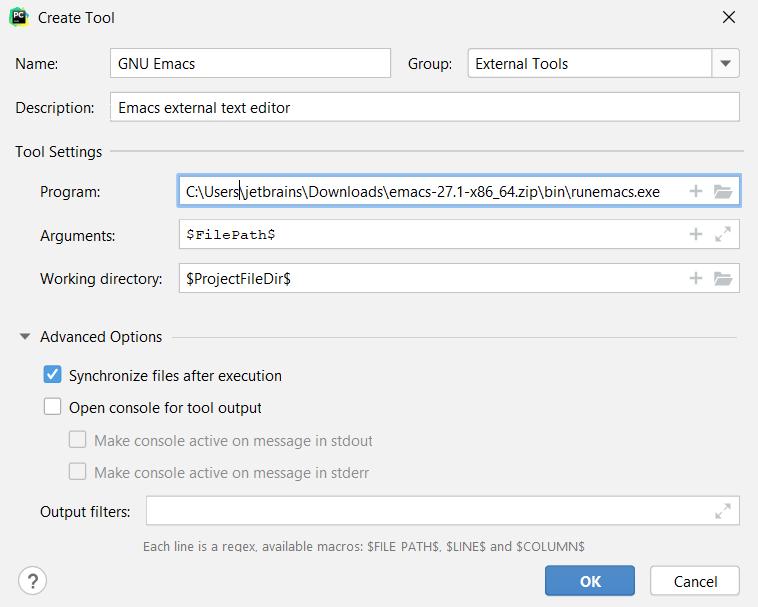 Adding emacs as an external editor on Windows