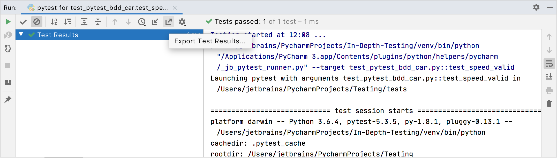 exporting test results