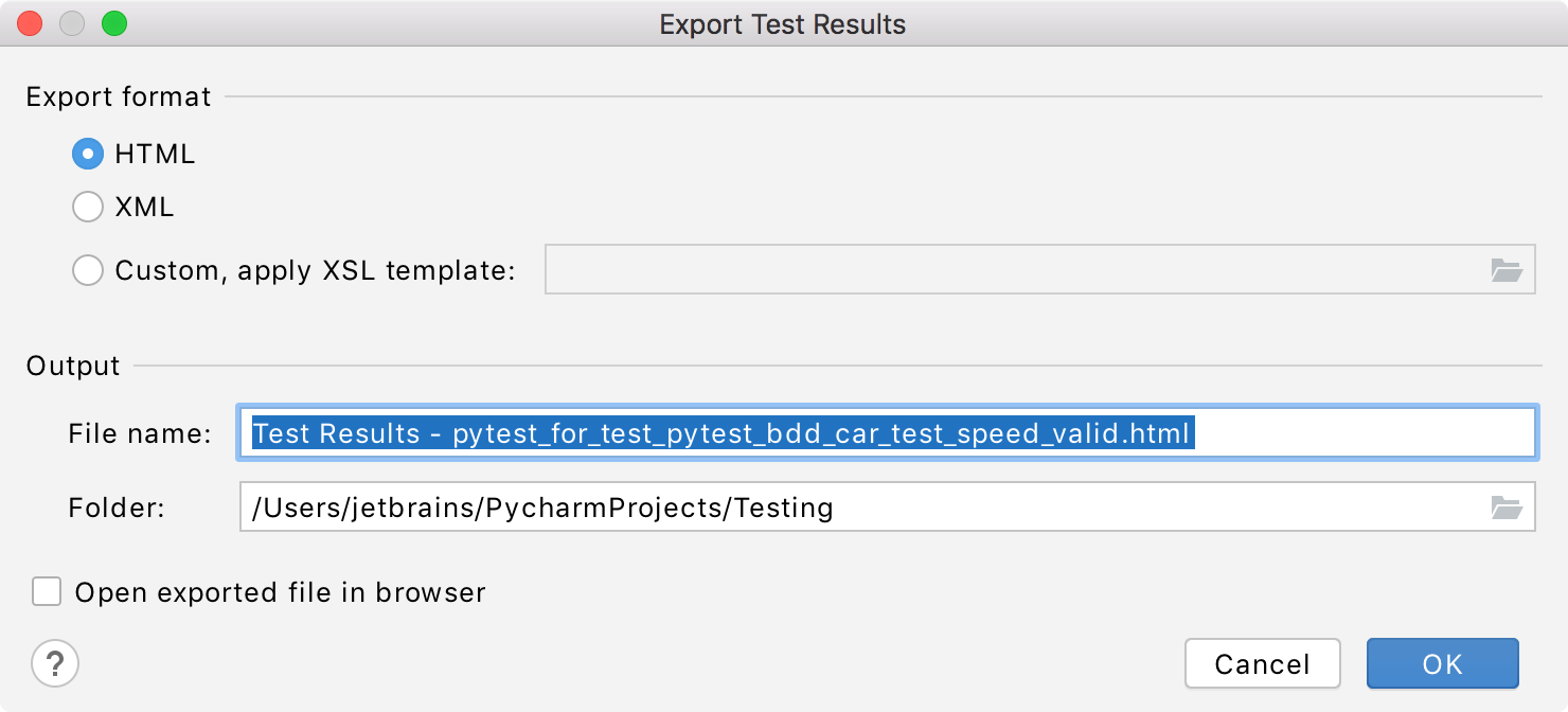 exporting test results dialog