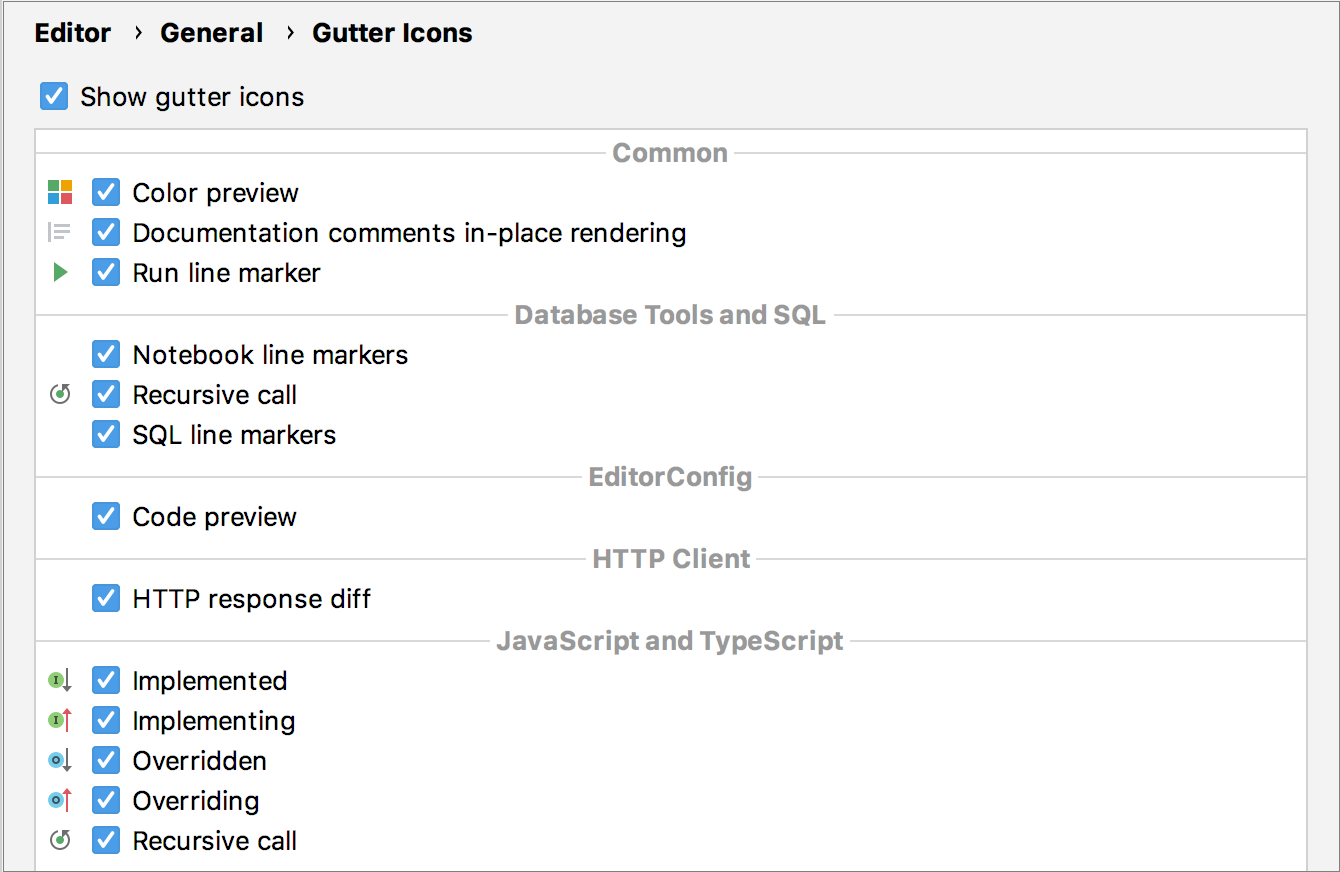 Gutter icons settings in the Preferences dialog