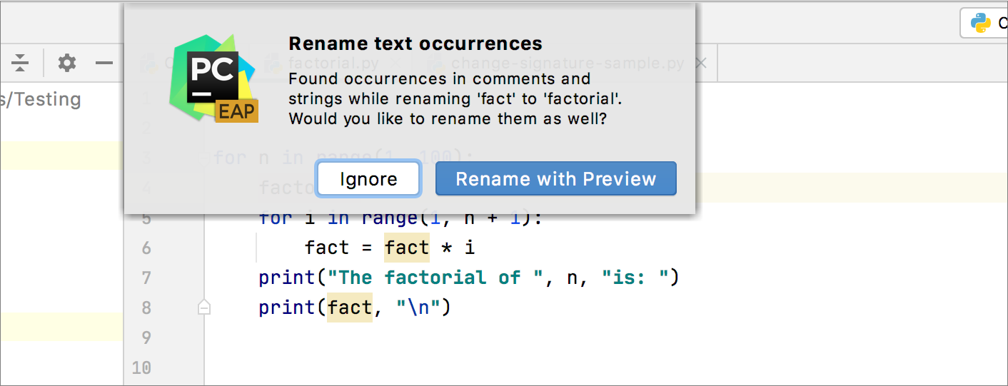 Applying rename refactoring to comments