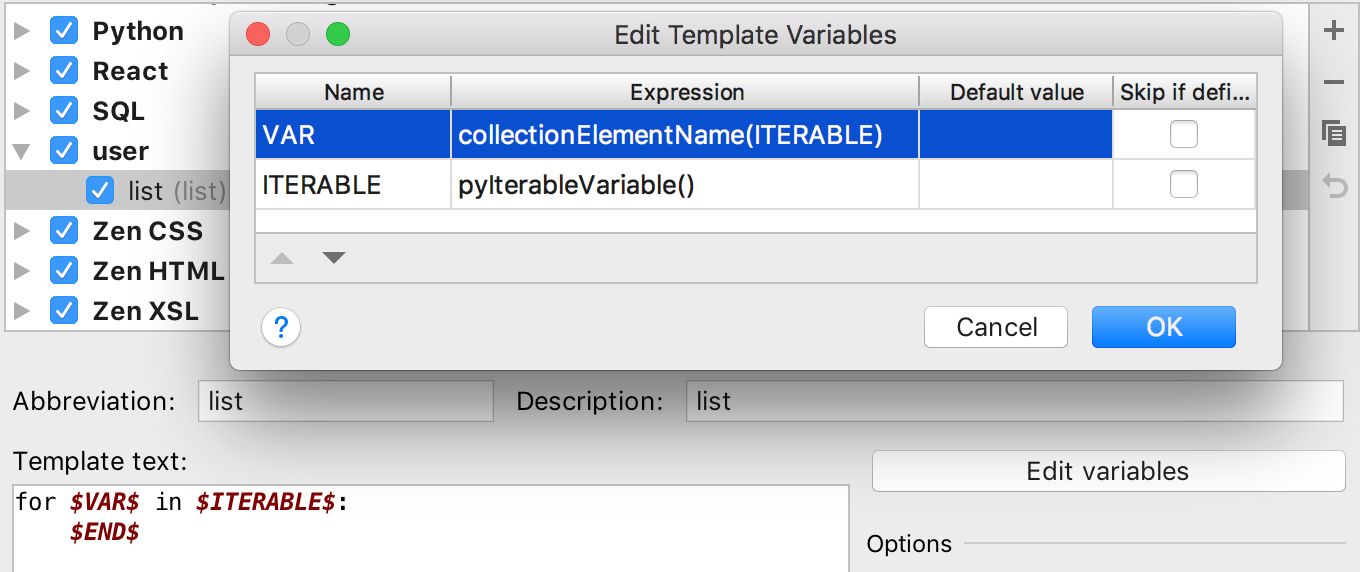 Using pyIterableVariable() in live templates