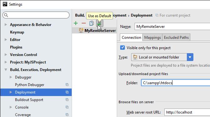 Set a server as default