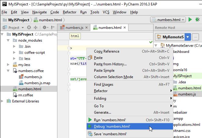 Start debugging