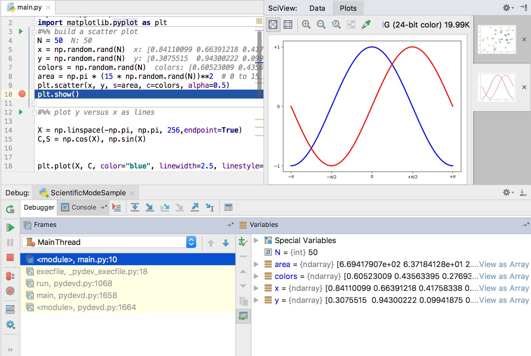 Debugging the matplotlib code