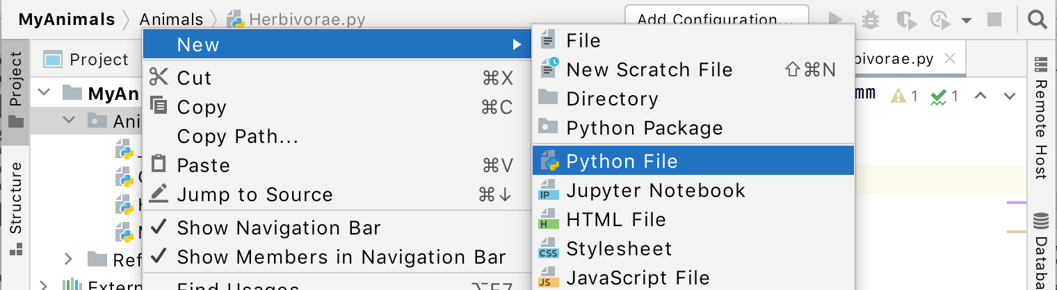 Create a new file using the navigation bar