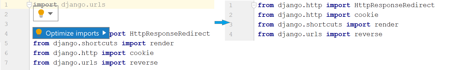 the Optimize imports intention action
