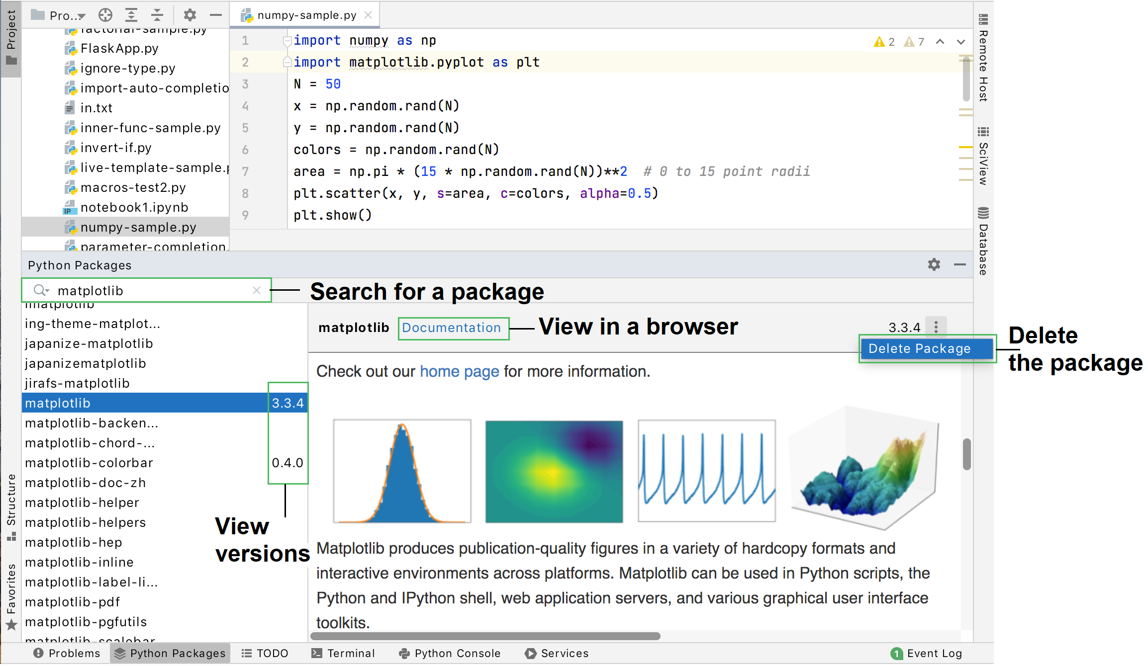 Python Packages tool window