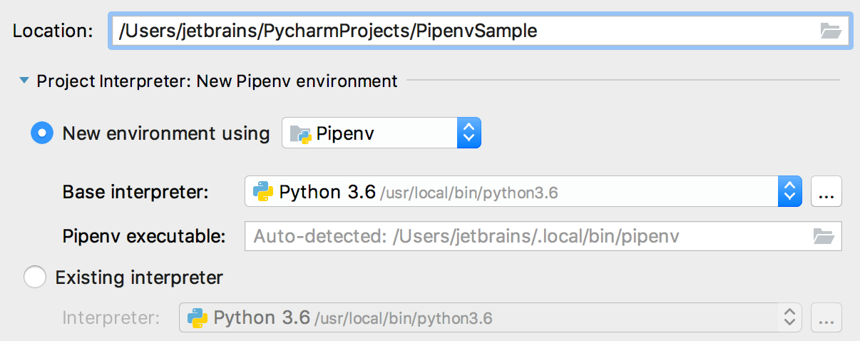 Path to the pipenve executable is autodetected