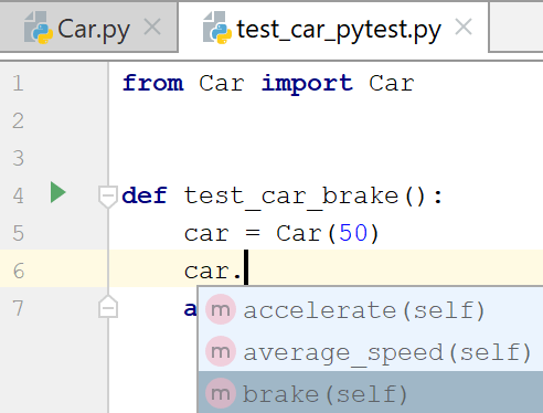 Autocompletion for the test subject