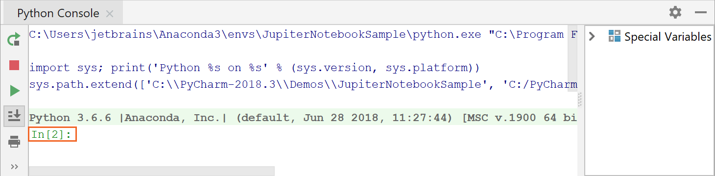 IPython version is shown in the Python console
