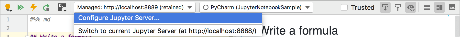 Switch to the current Jupyter Server