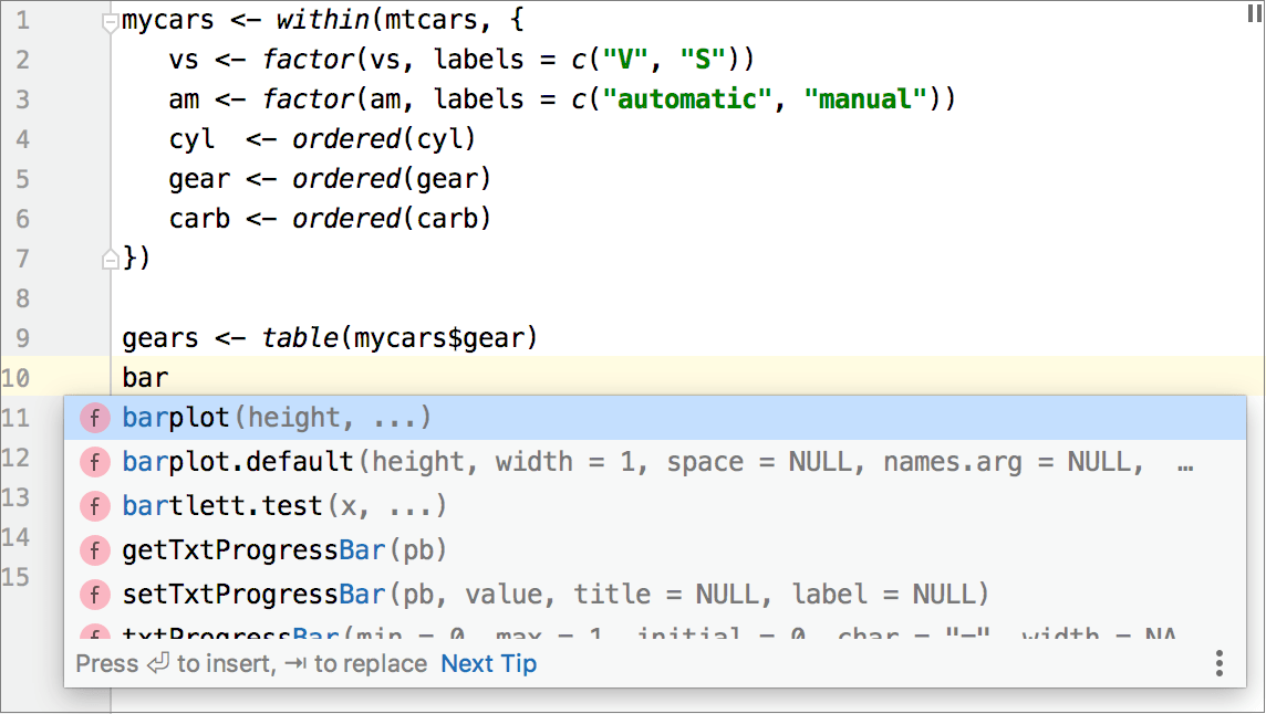 Code completion for R