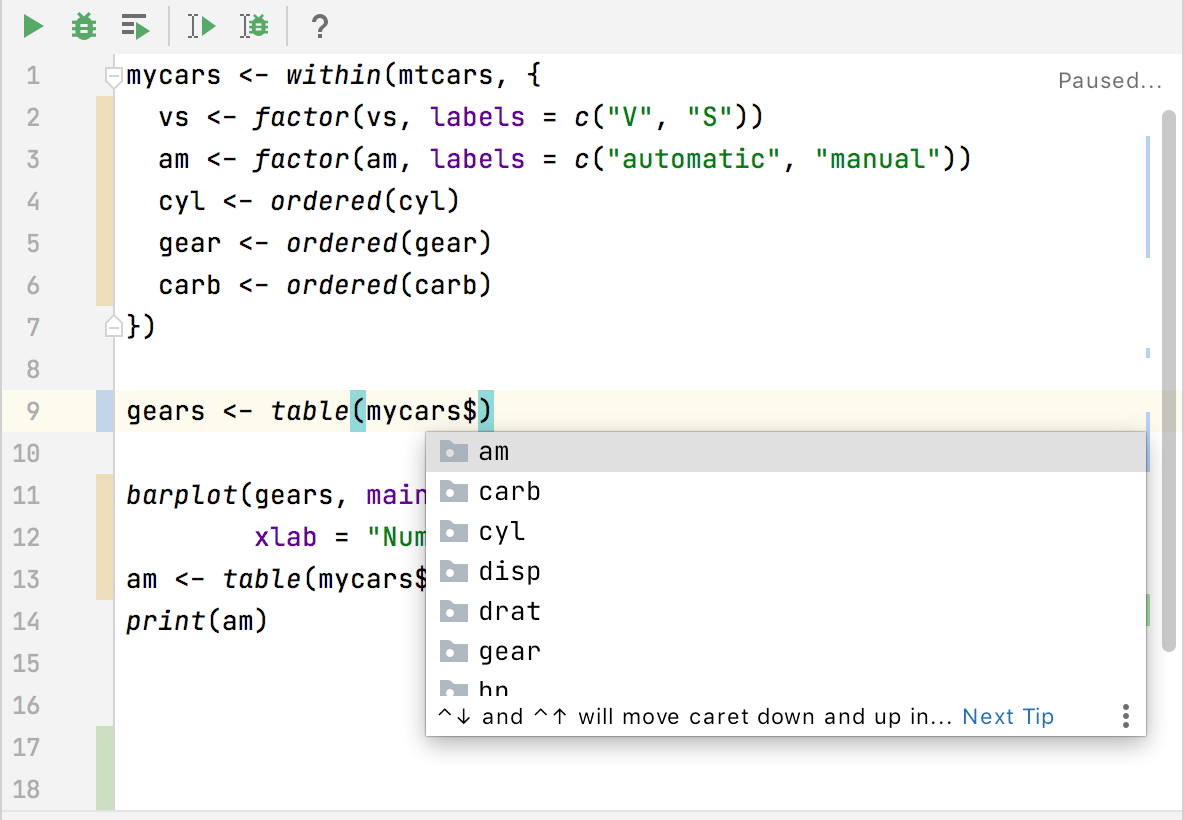 Code completion for dataframes