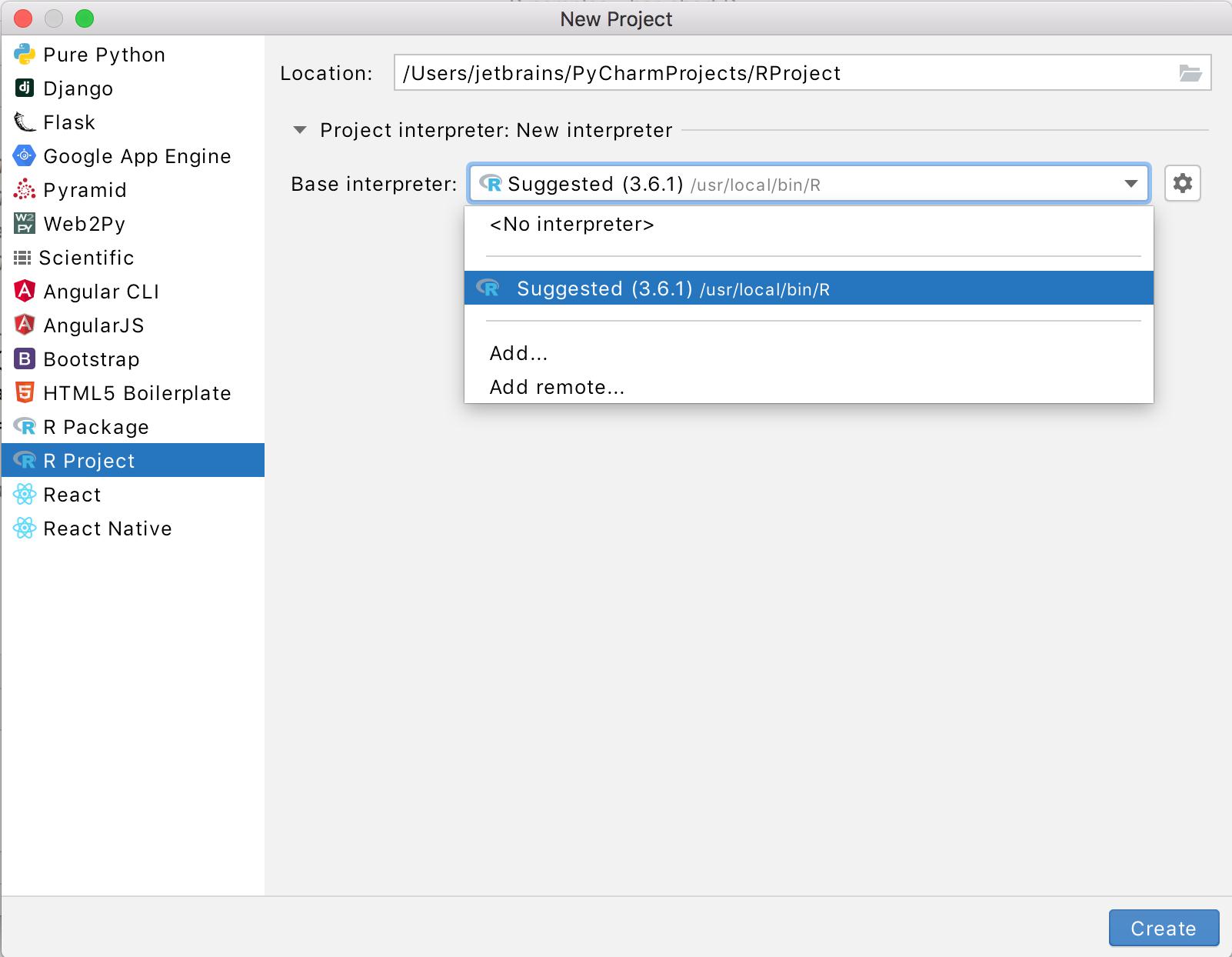 Adding a new project R interpreter