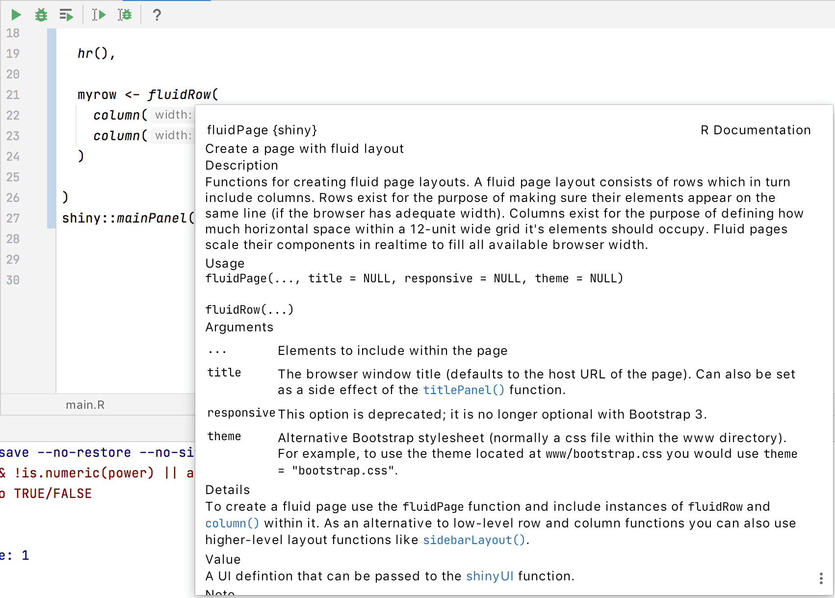 preview R documentation