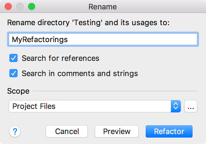 Renaming a directory