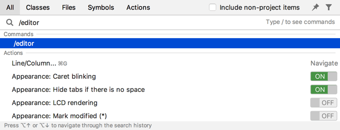 Search for Settings